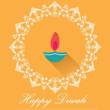 Decorative Diwali Lamps, happy diwali greeting card flat design - vector eps10