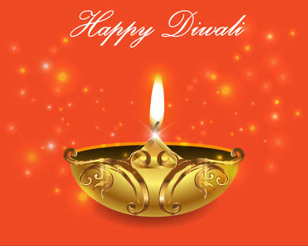 dipawali: illustration of burning diya on Diwali bright orange background Illustration