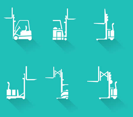 tonnage: Forklift icons set, forklifts, heavy equipment and machinery-vector eps10
