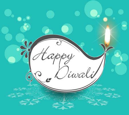 diya: happy diwali card with burning diya on bright  background - vector eps10