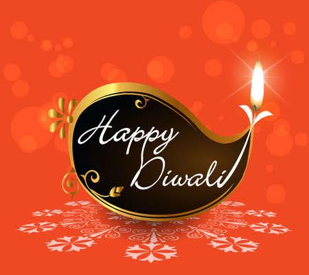 happy diwali card with burning diya on bright orange background - vector eps10