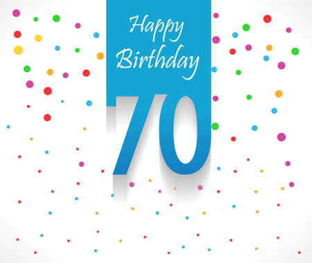 70 years Happy Birthday background or card with colorful confetti with polka dots-vector eps10 Ilustrace