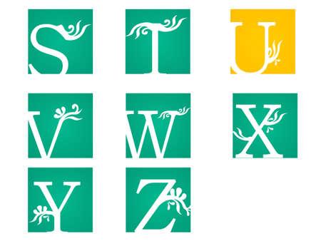 u  s  a: Vintage style floral letters font, vector alphabet. -vector eps10 Illustration