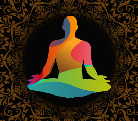 yoga position: World Yoga Day vector illustration, pattern background - vector eps10 Illustration