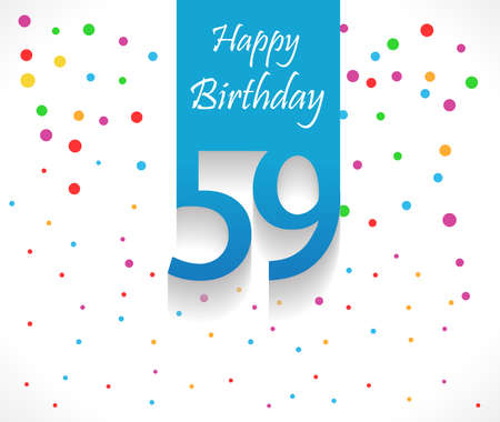 59 years Happy Birthday background or card with colorful confetti with polka dots-vector eps10 일러스트
