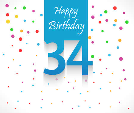 34: 34 years Happy Birthday background or card with colorful confetti with polka dots-vector  Illustration