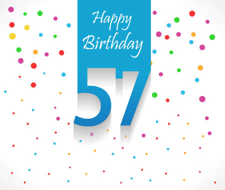 57: 57 years Happy Birthday background or card with colorful confetti with polka dots-vector eps10 Illustration