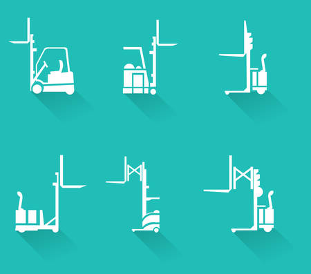 forklifts: Forklift icons set, forklifts, heavy equipment and machinery-vector eps10