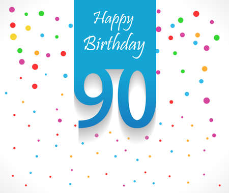 90th: 90 years Happy Birthday background or card with colorful confetti with polka dots-vector eps10