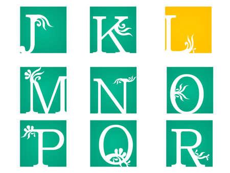 Vintage style floral letters font, vector alphabet. -vector eps10 Ilustração