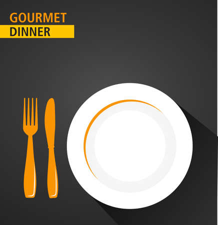 gourmet dinner: Concept illustration showing gourmet dinner buffet with a plate and cutlery - vector eps10