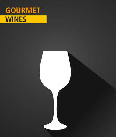 gourmet: gourmet wines icon. drinks menu card. Flat graphic with long shadow -Vector illustration Illustration