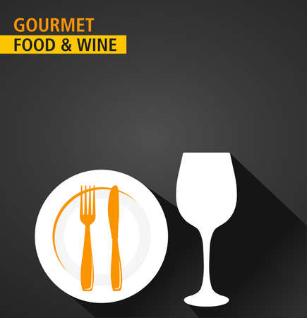 gourmet food: gourmet food and wine serving, menu background, flat and shadow theme - vector eps10
