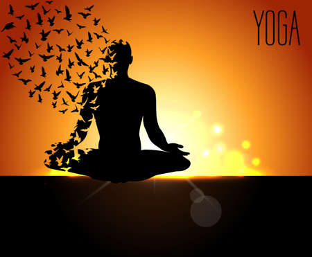 early morning: yoga day, silhouettes in the yoga poses on a early morning background, world yoga day, design templates for spa center or yoga studio - vector eps10