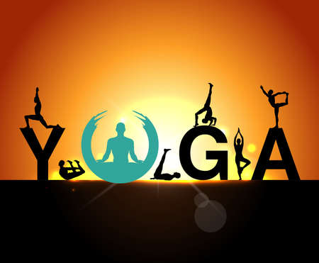 silhouettes in the yoga poses on a early morning background, world yoga day, design templates for spa center or yoga studio - vector eps10