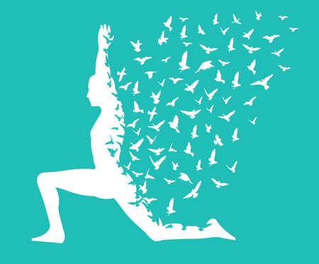 monde yoga dayyoga infographique avec des oiseaux qui volent la conception, de la santé et de remise en forme - vecteur eps10 Vecteurs