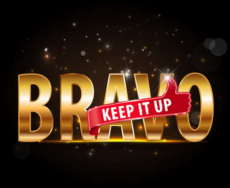 bravo: applause Bravo concept of success, golden typography with thumbs up sign - vector eps 10 Illustration
