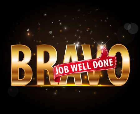 encouragement: applause Bravo concept of success, golden typography with thumbs up sign - vector eps 10 Illustration