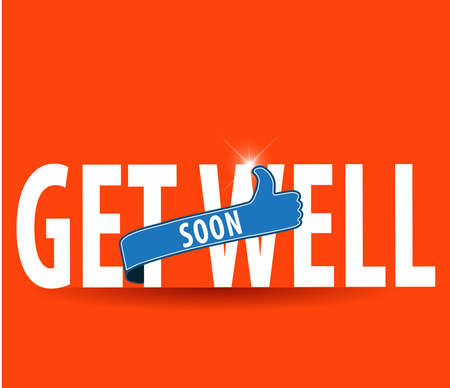 encouragement: get well soon, concept of encouragement, flat typography with thumbs up sign - vector eps 10