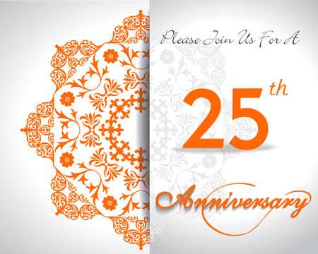 aniversario: 25 años de diseño aniversario patrón, 25to aniversario de elementos decorativos florales, fondo adornado, diseño plano tarjeta de invitación - vector eps10