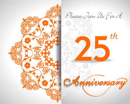 25th: 25 year anniversary celebration pattern design, 25th anniversary decorative Floral elements, ornate background, invitation card flat design - vector eps10 Illustration