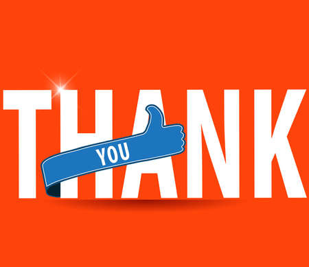 encouragement: thank you, flat typography with thumbs up sign - vector eps 10