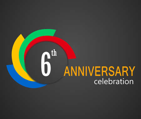 6th: 6th Anniversary celebration background, 6 years anniversary card illustration - vector eps10 Illustration