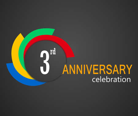 3rd: 3rd Anniversary celebration background, 3 years anniversary card illustration - vector eps10