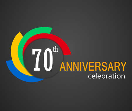 70: 70 years anniversary celebration card illustration