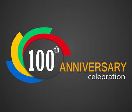 100º aniversario de la celebración de fondo, 100 años Ejemplo de la tarjeta de aniversario
