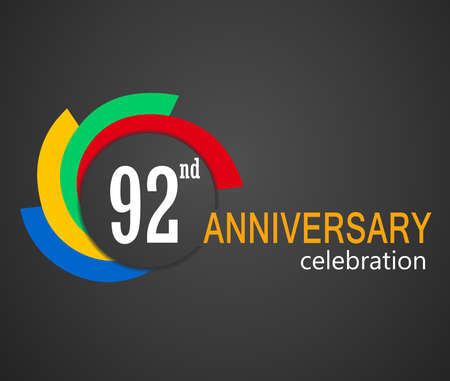 92: 92nd Anniversary celebration background, 92 years anniversary card illustration