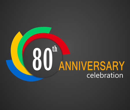 80 years: 80th Anniversary celebration background, 80 years anniversary card illustration