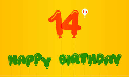 14th: 14 year birthday celebration flat color, 14th anniversary decorative flat modern style