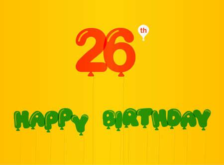 26th: 26 year birthday celebration flat color, 26th anniversary decorative flat modern style