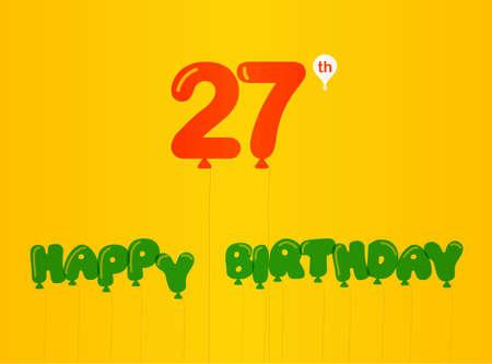 27: 27 year birthday celebration flat color, 27thanniversary decorative flat modern style