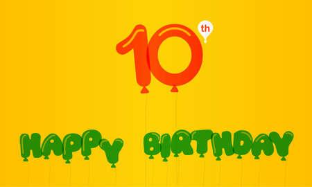10th: 10 year birthday celebration flat color, 10th anniversary decorative flat modern style