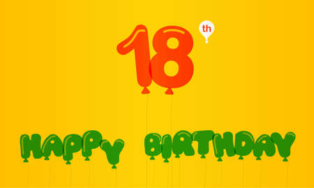 18th: 18 year birthday celebration flat color, 18th anniversary decorative flat modern style