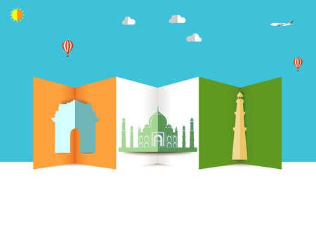 mahal: India skyline, taj mahal india gate kutub minar illustration Travel and tourism background Illustration