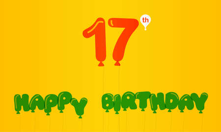 17th: 17 year birthday celebration flat color, 17th anniversary decorative flat modern style