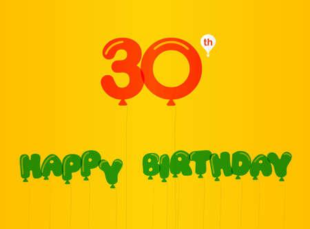 30th: 30 year birthday celebration flat color, 30th anniversary decorative flat modern style