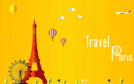 urban planning: Flat stylish travel background, illustration for Paris, France, Travel and tourism concept Illustration
