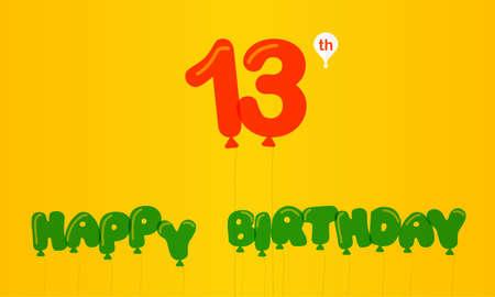 13th: 13 year birthday celebration flat color, 13th anniversary decorative flat modern style
