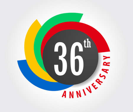 number 36: 36th Anniversary celebration background, 36 years anniversary card illustration Illustration