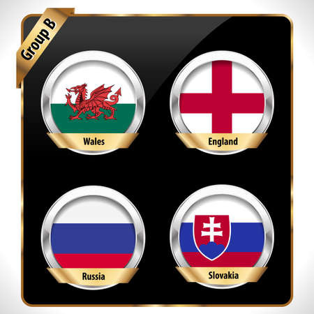 group b: European football championship 2016 in France groups vector group B Illustration