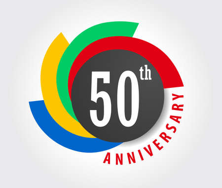 50th: 50th Anniversary celebration background, 50 years anniversary card illustration