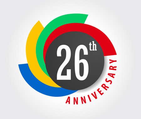 26e verjaardag viering achtergrond, 26 jaar verjaardag kaart illustratie
