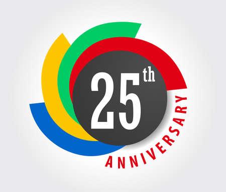 25th Anniversary celebration background, 25 years anniversary card illustration