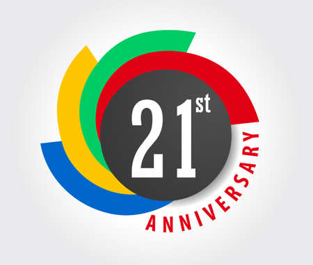 21st Anniversary celebration background, 21 years anniversary card illustration