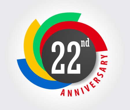 22 aniversario fondo de la celebración, 22 años Ejemplo de la tarjeta de aniversario Foto de archivo - 59937277