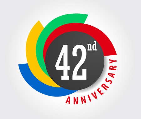 42nd: 42nd Anniversary celebration background, 42 years anniversary card illustration